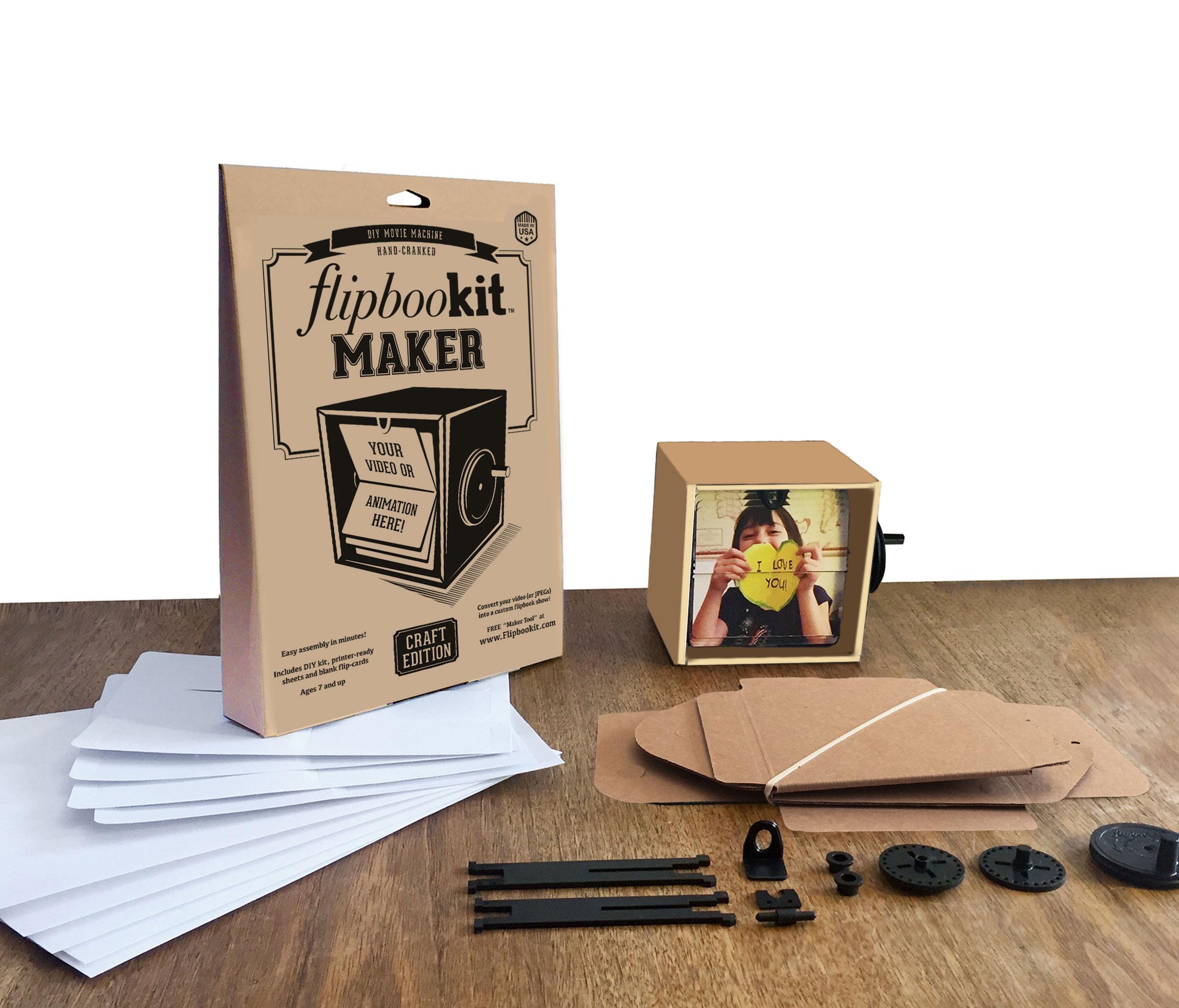 Maker kit contents FlipBooKit Flip book DIY Craft project maker kit